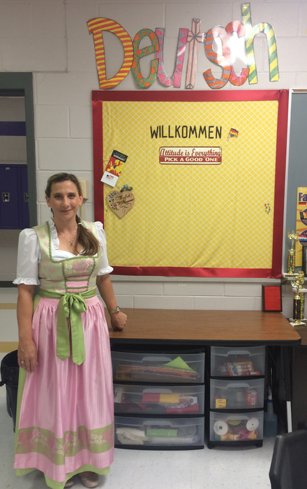 Ms Faske wore traditional German dress to meet her students.