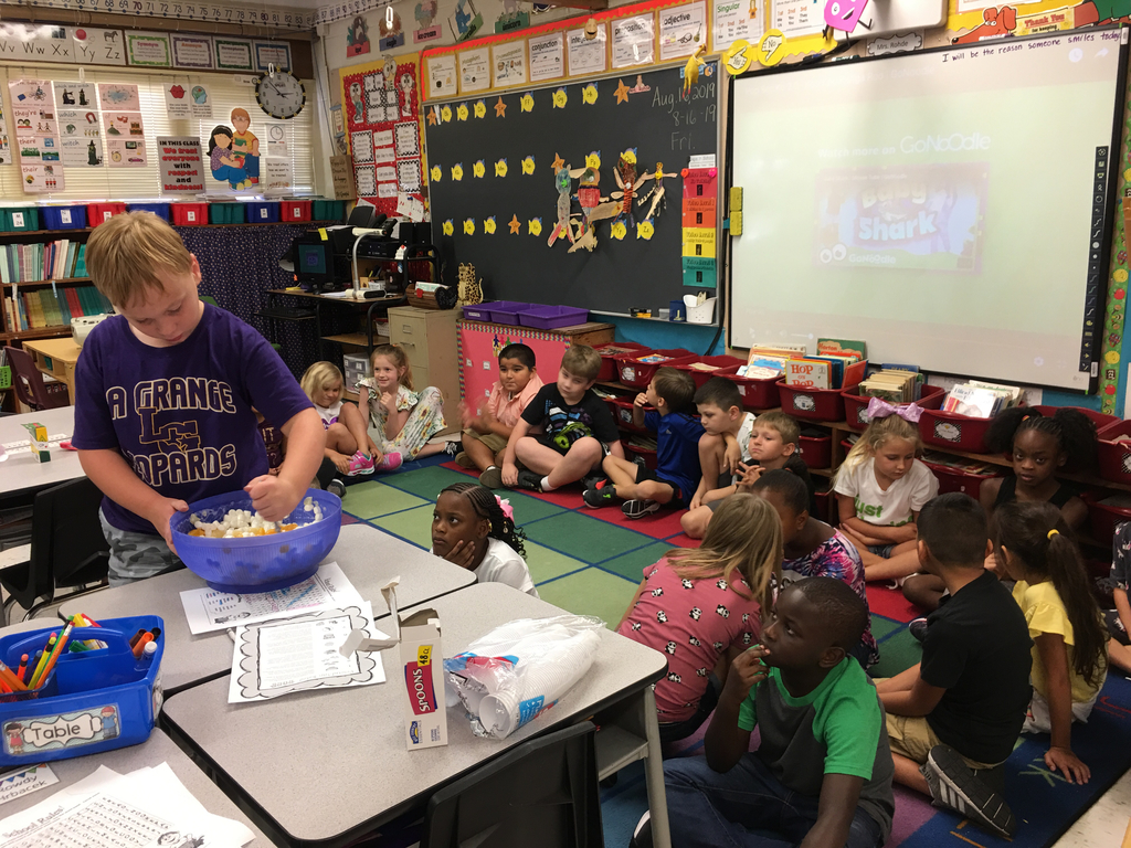 Mrs. Rohde's class sharing friendship fruit salad! No one wanted the rotten banana!