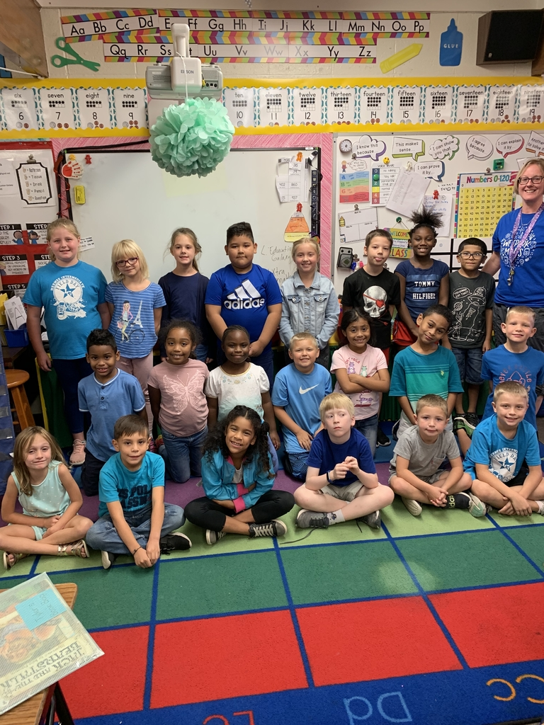 We wore blue today in Mrs. Dippel's class! Thanks
