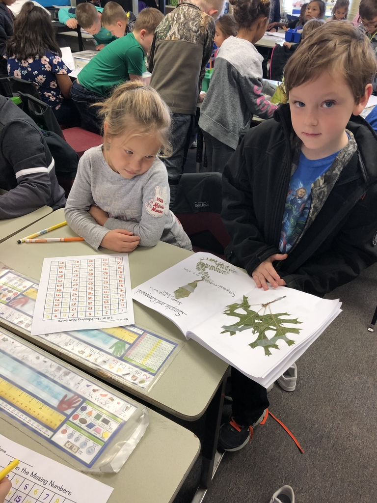 2nd Grade sharing Leaf Scrapbooks with 1st Grade!