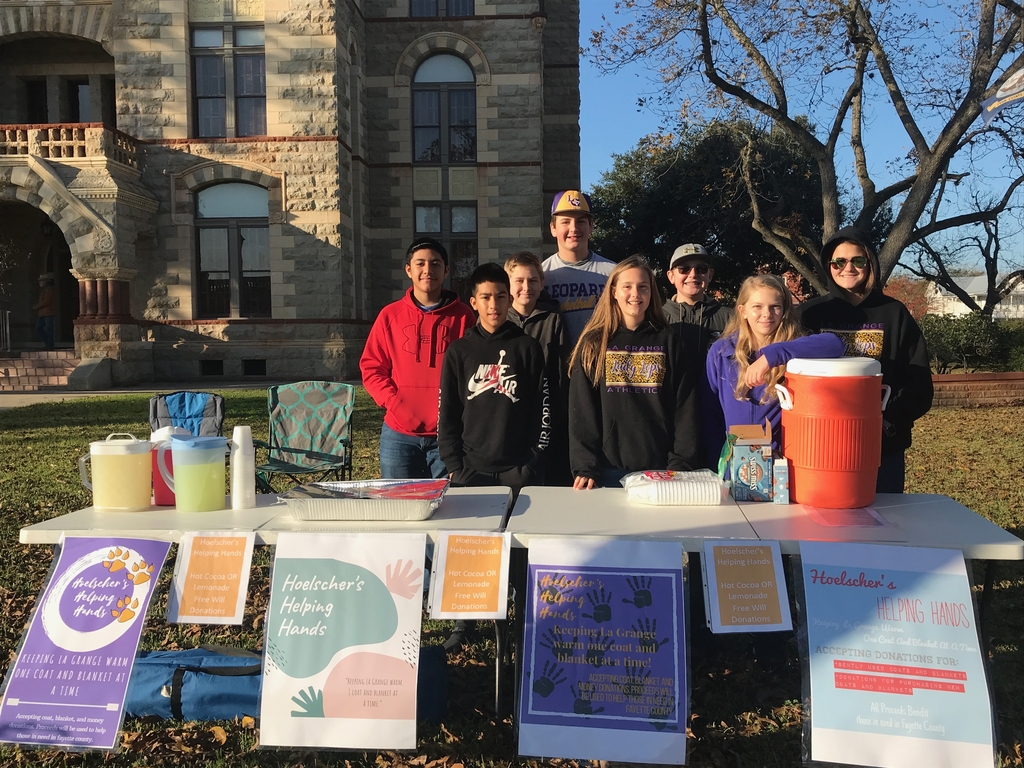 Mrs. Hoelscher's home room class is set up today from 8-12 downtown at the Farmer's Market. They have hot cocoa and lemonade available! Free will donations accepted to help them buy coats and blankets for those in need in Fayette County! Thanks!