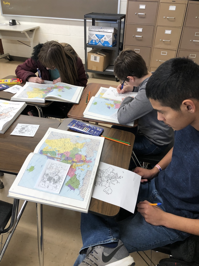 6th grade World Cultures working on map skills.