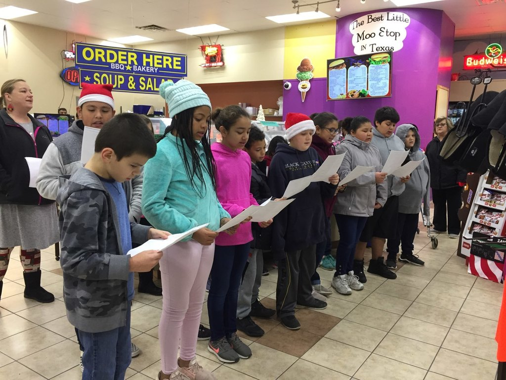 Mrs. Grafton's class spreading holiday cheer at One-Stop
