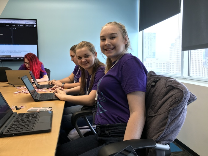 Abbey Weyand, Molly Bennett, and Harper Westall create personal websites with HTML and CSS.