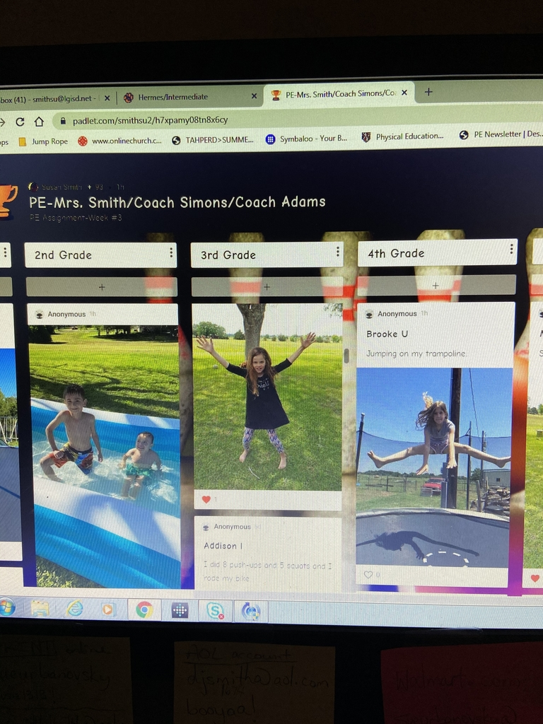 Hermes Lil' Leps staying active and posting pictures on our weekly PE padlet.  Way to stay active!
